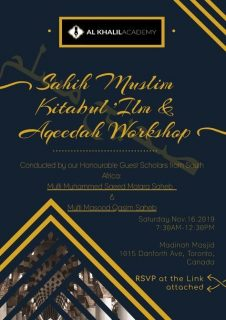 Kitabul Ilm Saheeh Muslim and Aqeedah Workshop
